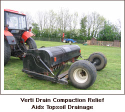 Verti Drain compaction relief aid topsoil drainage.